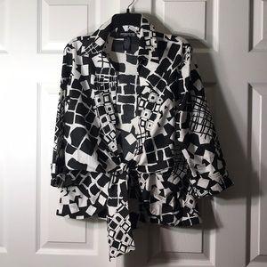 Cute Geometric Pattern Tie Front Blouse